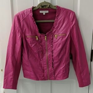 Ellen Tracy vegan leather and knit jacket.